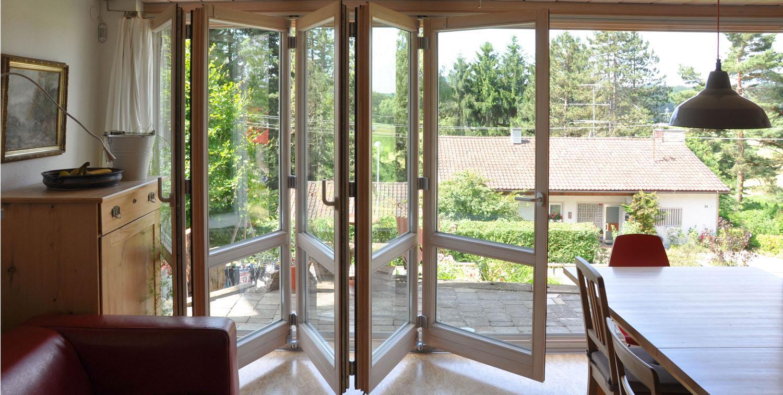 Balkontüre in Lamellenbauweise
